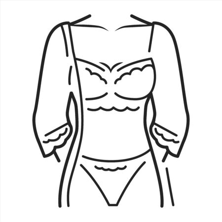 Peignoir lingerie black line icon. Pictogram for web page, mobile app, promo. UI UX GUI design element. Editable stroke. Ilustracja