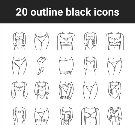 Lingerie black line icons set. Category of women's clothing including at least undergarments, sleepwear and lightweight robes. Pictogram for web page, mobile app, promo. Editable stroke Ilustracja