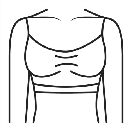 Top lingerie black line icon. Item of lingerie that covers at least the chest. Pictogram for web page, mobile app, promo. UI UX GUI design element. Editable stroke. Ilustracja