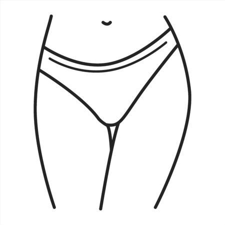 Underpants lingerie black line icon. A type of panties with sides that extend lower down the hips. Pictogram for web page, mobile app, promo. UI UX GUI design element. Editable stroke