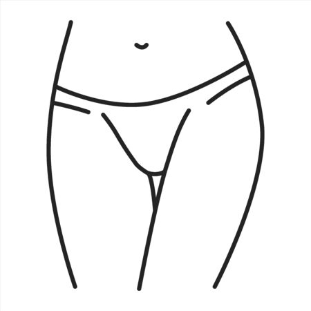 Underpants tonga lingerie black line icon. A type of panties with sides that extend lower down the hips. Pictogram for web page, mobile app, promo. UI UX GUI design element. Editable stroke. Ilustracja