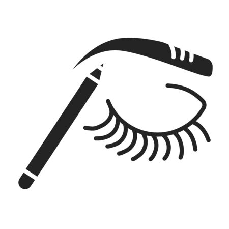 Make up eyebrow black glyph icon. Beauty industry. Pictogram for web page, mobile app, promo. UI UX GUI design element