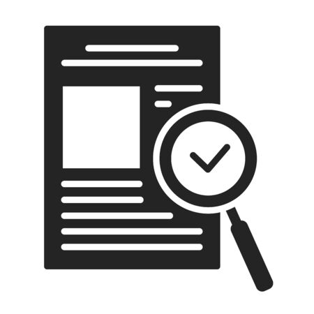 Approved document black glyph icon. High quality work. Successful check concept. Certified, validation element. Sign for web page, mobile app. Vector isolated object Ilustrace