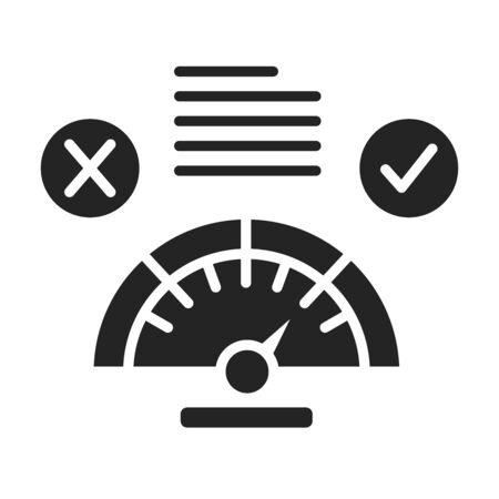Approved answer black glyph icon. Accepted or confirmed concept. Sign for web page, mobile app. Vector isolated object Ilustrace