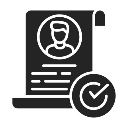 Job application black glyph icon. Approved candidate concept. Document with check mark. Sign for web page, mobile app. Vector isolated object