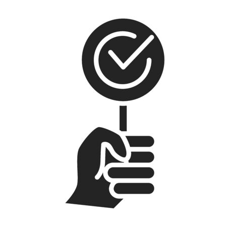 Approved black glyph icon. Hand holding plate agreement concept. Sign for web page, mobile app. Vector isolated object