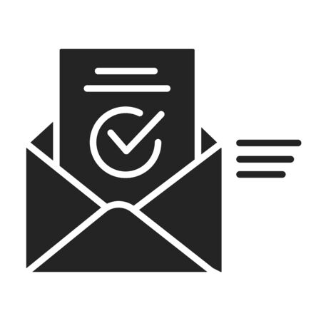 Approved massage black glyph icon. Verification letter concept. Successful answer. Sign for web page, mobile app. Vector isolated object Ilustrace