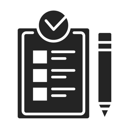 Approved checklist black glyph icon. Check mark list, office organization briefings or questionnaire checkbox concept. Sign for web page, mobile app. Vector isolated object. Çizim