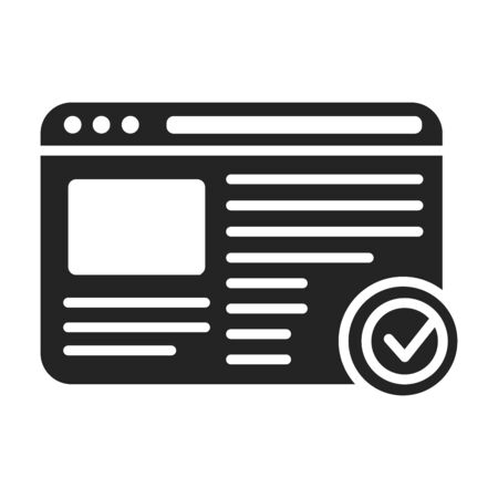 Approved web site black glyph icon. Successful registration concept. Agreement, validation element. Sign for web page, mobile app. Vector isolated object