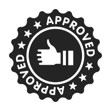 Approved stamp black glyph icon. Successful check concept. Certified, validation element. Sign for web page, mobile app. Vector isolated object