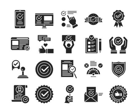 Approved elements black glyph icons set. Check marks, ticks collection. Checklist, certificate, documents, award medal, web sites symbols. Signs for web page, mobile app Ilustrace