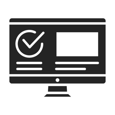 Computer with approved checkmark black glyph icon. Successful registration, update or download concept. Agreement, validation element. Sign for web page, mobile app. Vector isolated object Ilustracja