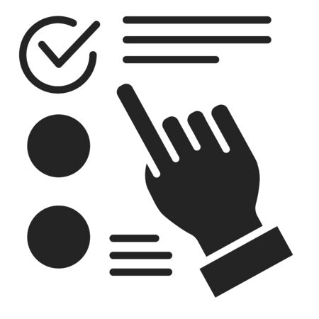 Approved choice on checklist black glyph icon. Make right decision concept. Sign for web page, mobile app. Vector isolated object.