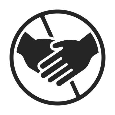 Avoid handshaking to prevent spread coronavirus black glyph icon. Healthcare. Pictogram for web page, mobile app, promo