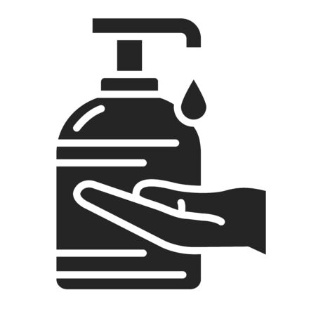 Antibacterial soap and hand black glyph icon. Hygiene product. Pictogram for web page, mobile app, promo. UI UX GUI design element