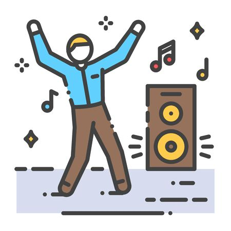 Dancing man color line icon. To have fun. Home leisure. Vector isolated illustration. Editable stroke. Vettoriali