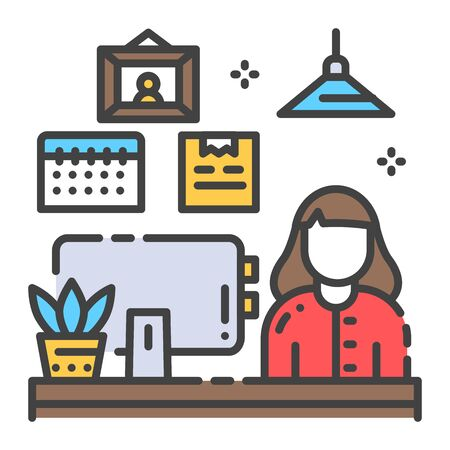Girl at the laptop color line icon. Remote work freelancer. Home leisure. Indoor view of office with elements decor. Vector isolated illustration. Editable stroke.
