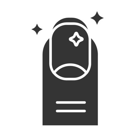 Manicure black glyph icon. Nail service. Beauty industry. Pictogram for web page, promo. UI UX GUI design element.