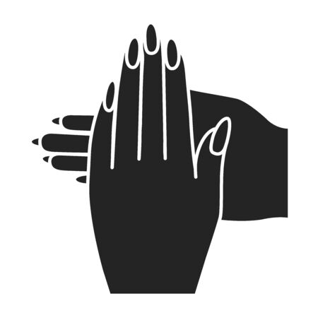 Women's hands with manicure black glyph icon. Nail service. Beauty industry. Pictogram for web page, promo. UI UX GUI design element.