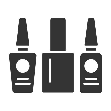 Nail polishes black glyph icon. Cosmetic product for manicure and pedicure. Nail service. Beauty industry. Pictogram for web page, promo. UI UX GUI design element Çizim