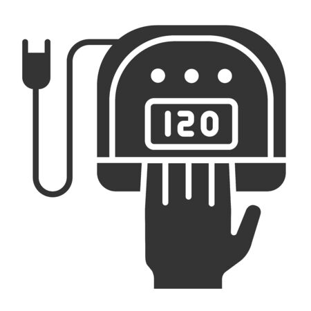 UV, LED lamp black glyph icon. Gel polish drying. Nail service. Beauty industry. Pictogram for web page, promo. UI UX GUI design element