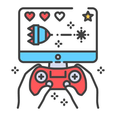 Computer games color line icon. Gamer holding joystick and playing video game. Home leisure. Vector isolated illustration. Editable stroke. Vectores