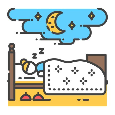 Woman sleeping on bed color line icon. Home interior. Indoor view of bedroom with furniture. Vector isolated illustration. Editable stroke.
