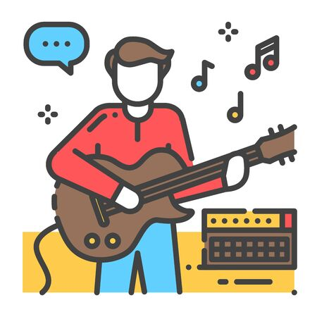 Man plays and sings on guitar color line icon. To have fun. Home leisure. Vector isolated illustration. Editable stroke