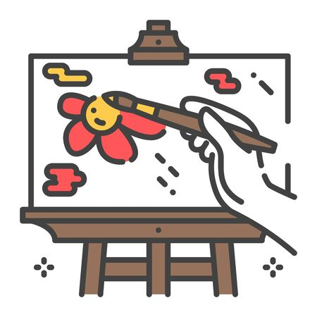 Draw a picture on an easel color line icon. Home leisure. Vector isolated illustration. Editable stroke.