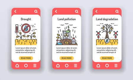 Eco problems on mobile app onboarding screens. Environmental issue. Banners for website on white background and mobile kit development. UI UX GUI template