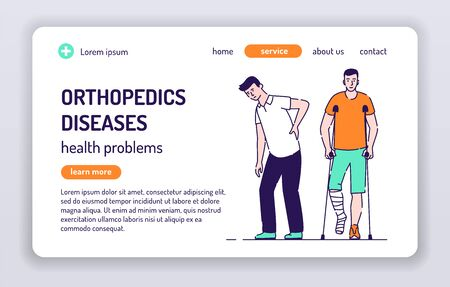 Orthopedics diseases web banner. Man with back pain. Man with broken leg is standing on crutches. Isolated cartoon character on a white background. Concept for web page, presentation. UX UI GUI design.
