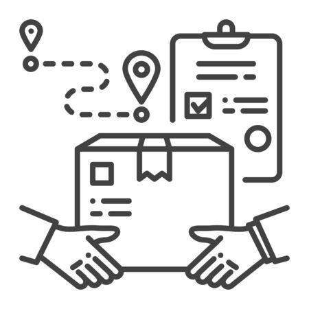 Hand to hand delivery black line icon. Delivery services. Hands holding box. Sign for web page, app. UI UX GUI design element. Editable stroke Иллюстрация