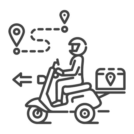 Courier delivery black line icon. Man rides motorcycle. Express shipping. Sign for web page, app. UI UX GUI design element. Editable stroke. Иллюстрация