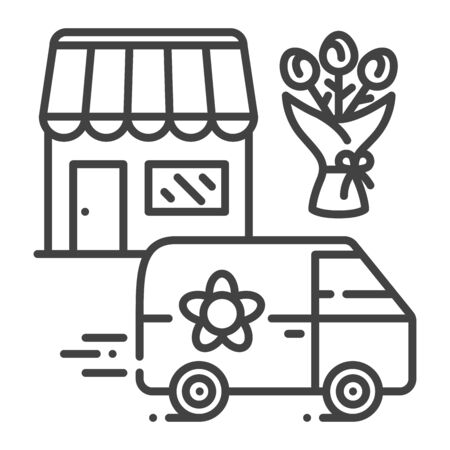 Delivery flower black line icon. Express shipping. Sign for web page, app. UI UX GUI design element. Editable stroke.