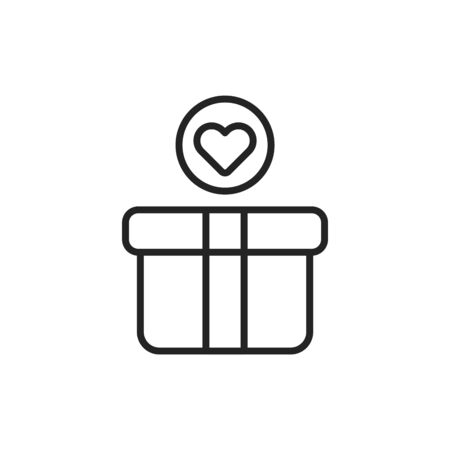 Donation box black line icon. Charity concept. Help poor people. Sign for web page, mobile app, banner, social media. Button UI UX user interface. Vector isolated object. Editable stroke.