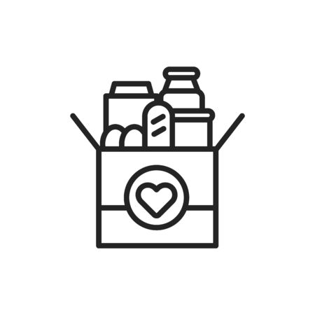 Donation box of food line black icon. Food Bank simple concept. Charity illustration. Sign for web page, mobile app, banner. UI UX user interface. Vector isolated object. Editable stroke
