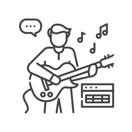 Man plays and sings on guitar black line icon. To have fun. Home leisure. Vector isolated illustration. Editable stroke