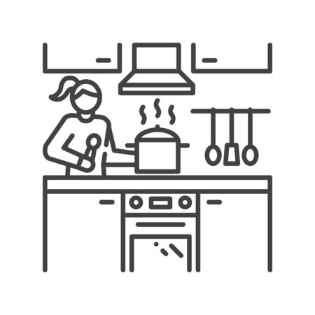 Woman is standing in kitchen and preparing black line icon. Home interior. Indoor view of room with cutlery, furniture. Vector isolated illustration. Editable stroke Ilustracja