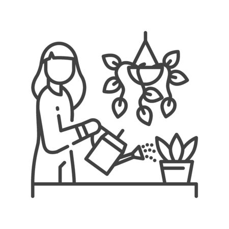 Girl is standing and watering flower black line icon. Home leisure. Plant care. Vector isolated illustration. Editable stroke. Vettoriali