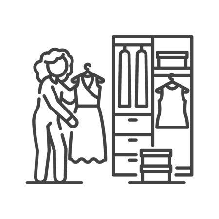 Frau steht vor geöffnetem Kleiderschrank mit Kleidung, die im schwarzen Liniensymbol hängt. Freizeit zu Hause. Isolierte Vektorgrafik. Bearbeitbarer Strich