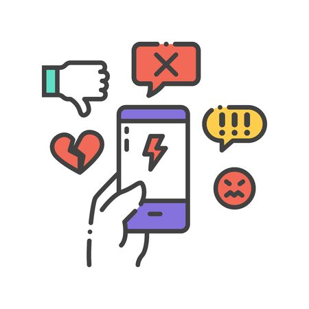 Cyberbullying victim hand holding smartphone. Abuse, internet, hate concept. Social media insult.