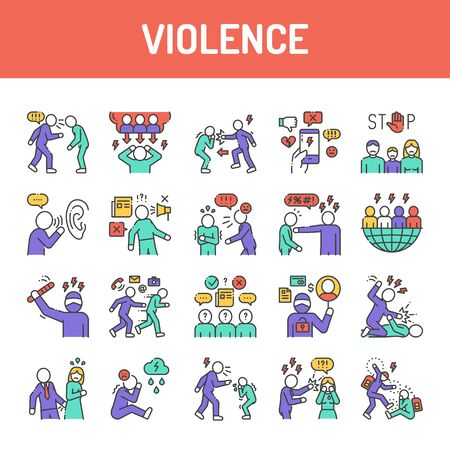 Violence color line icons set. Harassment, social abuse and bullying. Signs for web page, mobile app, button. Editable stroke