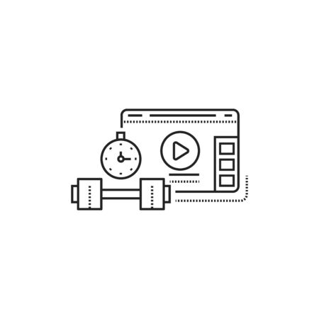 Sport blog web site black line icon. Training and marathon video streaming. Vlogging sign. Pictogram for web page, mobile app, promo. UI UX GUI design element. Editable stroke