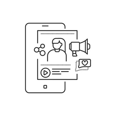 Blogger black line icon. Social media information sign. Content promotion in smartphone. Pictogram for web page, mobile app, promo. UI UX GUI design element. Editable stroke Ilustração
