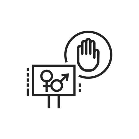 Sex strike line black icon. Feminist movement. Social protest. Pictogram for web page, mobile app, promo. Editable stroke. Vektoros illusztráció