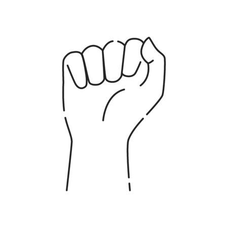 Human fist black line icon. Hand showing power symbol. Pictogram for web page, mobile app, promo. UI UX GUI design element. Editable stroke.