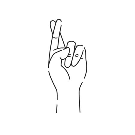 Hand showing symbol good luck black line icon. Fingers crossed. Superstition, luck, white lie gesture. Pictogram for web page, mobile app, promo. UI UX GUI design element. Editable stroke. Ilustração