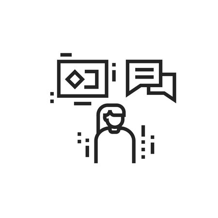 Brand promotion and advertising black line icon. Influencer marketing person. Pictogram for web page, mobile app, promo. UI UX GUI design element. Editable stroke
