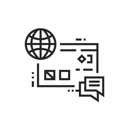 Internet branding black line icon. Digital promotion and advertising. Pictogram for web page, mobile app, promo. UI UX GUI design element. Editable stroke. Ilustração