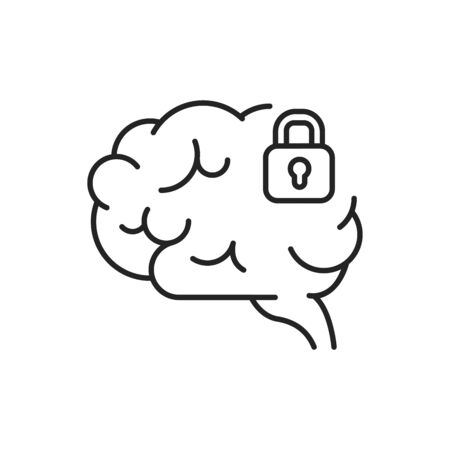 Brain blocking line black icon. Symptom of dementia. Brain does not process or absorb new information.